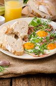 pic of redneck  - Spring omelette with bacon egg and herbs homemade rustical bread  - JPG