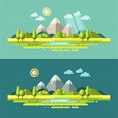 pic of rain cloud  - Flat design nature landscape illustration with sun - JPG