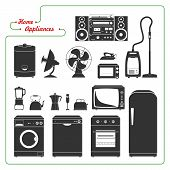 picture of monochromatic  - Scaled monochromatic home appliances vectorial illustration - JPG