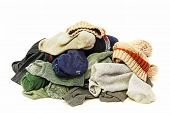 picture of stinky  - A lot of used socks isolated on a white background - JPG