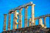 image of poseidon  - Poseidon temple landmark at the sunset in Sounion - JPG