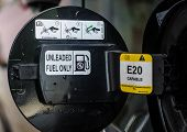 foto of fuel economy  - E20 Petrol car fuel tank cover opened - JPG