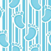 picture of soles  - Unique seamless pattern with blue stripes and baby sole - JPG