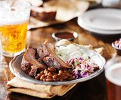 image of spare  - barbecued spare ribs with coleslaw - JPG