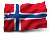 picture of waving  - Waving flag of Norway isolated on white background - JPG