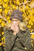 picture of allergy  - young beatiful woman season change with allergy - JPG