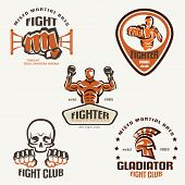image of boxing  - Set of fighting club emblems MMA boxing labels and bages - JPG