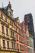 stock photo of tenement  - Facades of ancient tenements in the Old Town in Wroclaw Poland - JPG