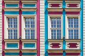 picture of tenement  - Facade of ancient tenement in the Old Town in Wroclaw - JPG