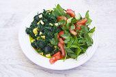 picture of paneer  - palak paneer food and fresh green salad - JPG