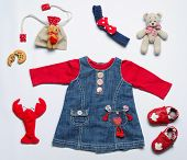 image of girl toy  - top view fashion trendy look of baby girl clothes and toy stuff baby fashion concept - JPG