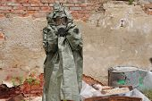 foto of gas mask  - Man with gas mask and green military clothes after chemical disaster - JPG