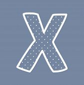picture of letter x  - X hand drawn vector letter with small white polka dots on navy blue background - JPG