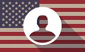 stock photo of avatar  - Illustration of an USA flag icon with a male avatar - JPG