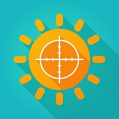 foto of crosshair  - Illustration of a sun icon with a crosshair - JPG