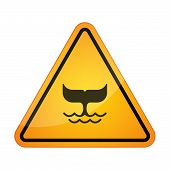 image of tail  - Illustration of a danger signal icon with a whale tail - JPG