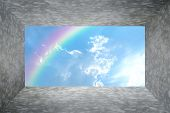 foto of wall cloud  - Polished bare concrete floor and wall texture background room with Blue sky and white cloud with rainbow - JPG