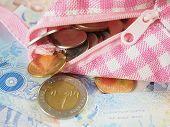 foto of copper coins  - Purse with coins on Banknotes of Thai Baht Money Background - JPG