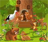 image of tree house  - forest animals living in the tree house - JPG