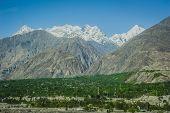 picture of karakoram  - Idyllic mountain peak in Northern area of Pakistan - JPG