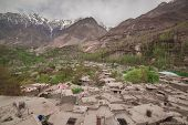 stock photo of karakoram  - Hunza valley with Blossom in Northern area of Pakistan - JPG