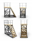 picture of stairway  - Stairways to access the ramp with different angles isolated on white background - JPG