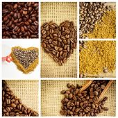 stock photo of extreme close-up  - Close up of a basket full of dark coffee beans against coffee and mug - JPG