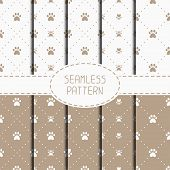 picture of paw-print  - Set of seamless pattern with animal footprints - JPG