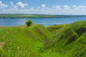 picture of ravines  - Spring landscape with ravine near big river Dnepr near Dnepropetrovsk city Ukraine - JPG