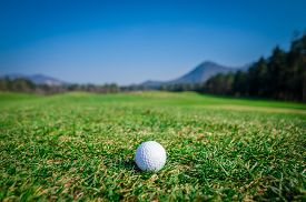 image of grass area  - Golf ball on green area with green grass ahead and mountains in background - JPG