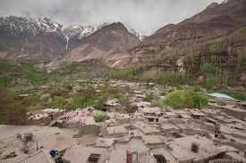 image of karakoram  - Hunza valley with Blossom in Northern area of Pakistan - JPG