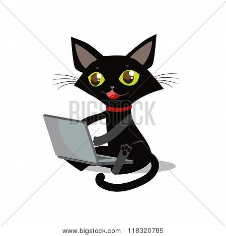 poster of The Cat Is Sitting. Vector Cat. Cat And Laptop. Curious Cat. Cat Designer. Cat Freelancer. Cat Smile. Cat On A White Background. Vector Illustration. Image Cat. Crafty Animal. Sly Cat. Cat Prankster.