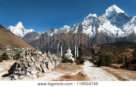 Mount Ama Dablam And Khumjung