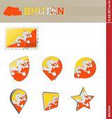 Постер, плакат: Bhutan Flag Set Flag Set 154