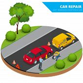 ������, ������: Roadside assistance car Man changing wheel on a roadside Auto service Protection of car Insuranc