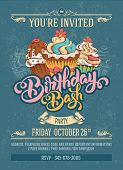 Invitation Card to Birthday Bash Party with Calligraphic Lettering Birthday Bash and Hand Drawn Swee poster
