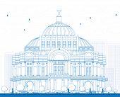 Постер, плакат: Outline The Fine Arts PalacePalacio de Bellas Artes in Mexico City Mexico Vector illustration Bu