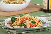 stock photo of lo mein  - Chicken lo mein with carrots and broccoli - JPG