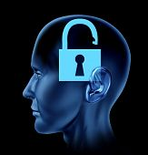 foto of frontal lobe  - Blue human head with open lock symbol representing intelligence open mind lost memories found secrets to the soul and thoughts - JPG