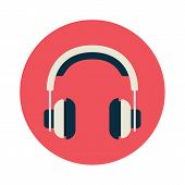 Headphones flat icon poster