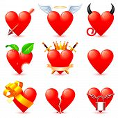 picture of angel devil  - Set of 9 heart icons on white background - JPG
