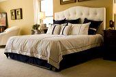stock photo of master bedroom  - Modern tastefully decorated master bedroom - JPG