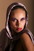 stock photo of pouty lips  - Beautiful glamourous woman model portrait - JPG