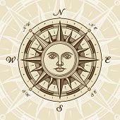 pic of compass rose  - Vintage sun compass rose in woodcut style - JPG