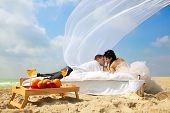 stock photo of wedding couple  - Wedding shot of sexy passion between bride and groom - JPG