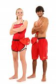 Boy And Girl Teenager Lifeguards In Uniform With Clipping Path.