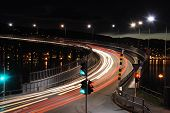 stock photo of tromso  - Traffic light at night in Tromso - JPG