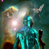 Surrealism. Naked man with electric circuit pattern on his skin stands before horse nebula in deep s poster