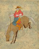 pic of bronco  - illustration of rodeo cowboy riding bucking horse bronco done in cartoon style - JPG