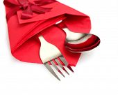 stock photo of lien  - cutlery and napkin isolated on white - JPG